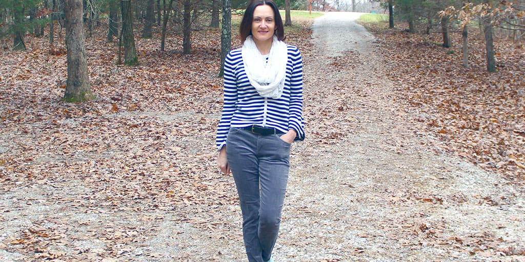 Striped Sweater and Scarf; Under $150 with Shoes