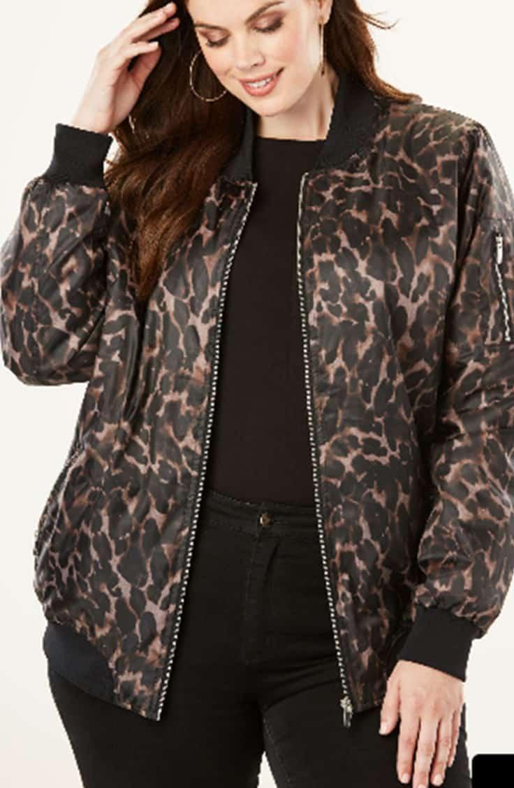 Zip front bomber jacket in animal print