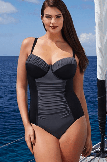 Color blocked one piece swimsuit with ruching