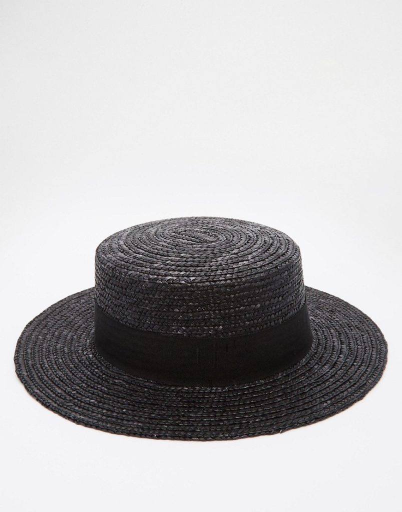 Black on black boater hat