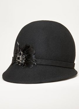 Cloche feather and Jeweled hat