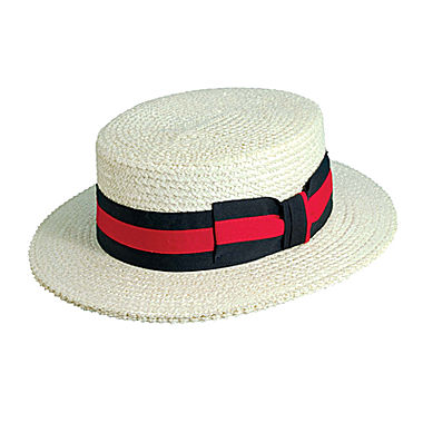 Boater hat with red and black band