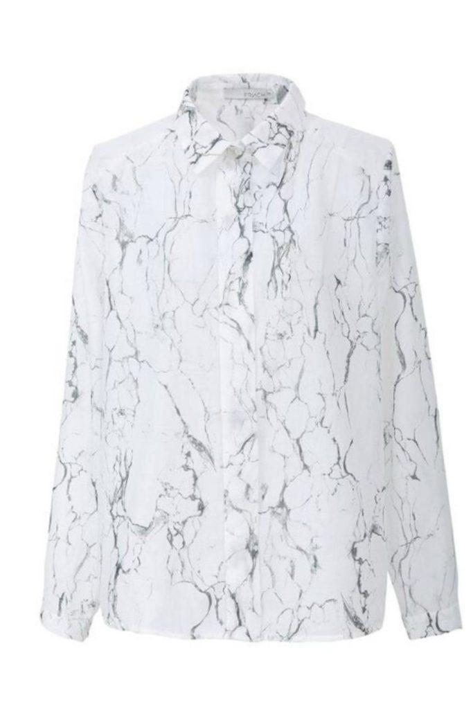 Marble design silk blouse