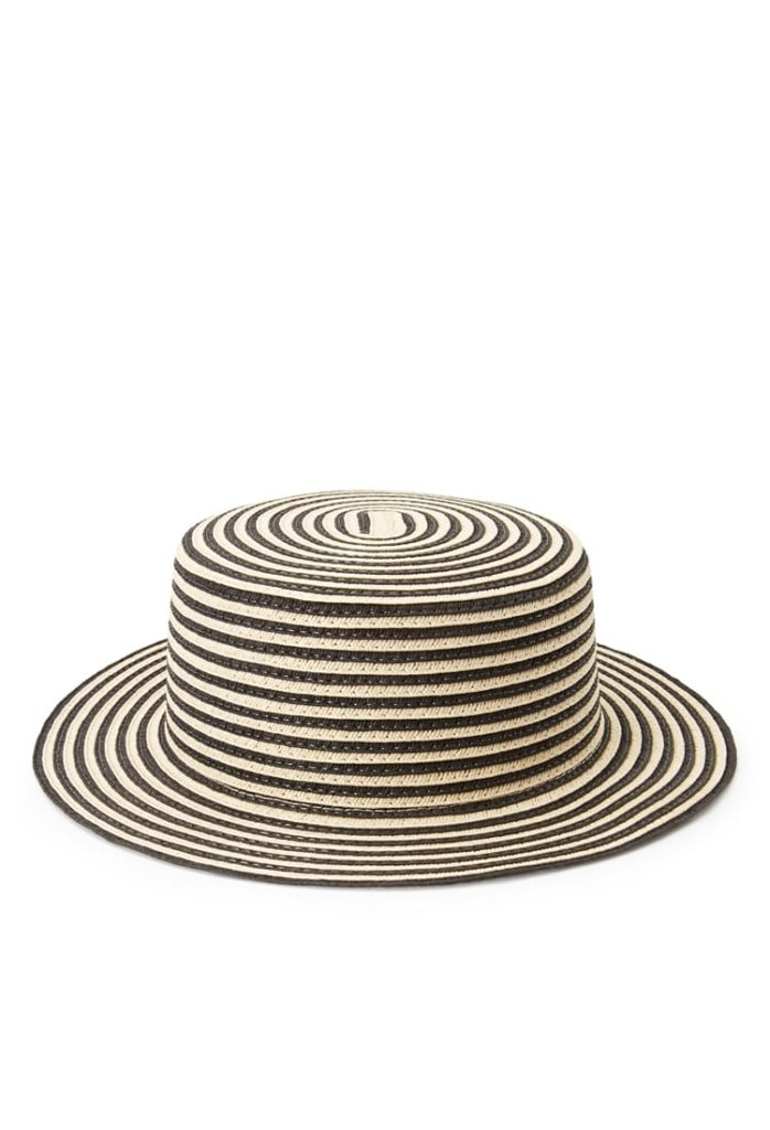 Striped straw boater hat