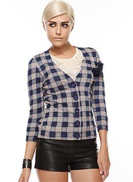 Knit checker cardigan