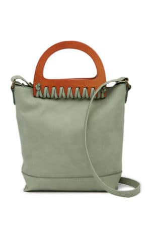 Green bag with wooden handle