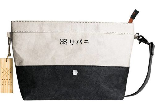 Black and white crossbody bag made from recycled materials