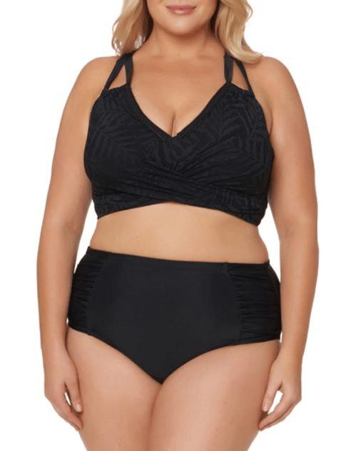 Black ruched bikini top