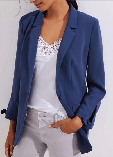Blue, tie-cuff blazer for petites