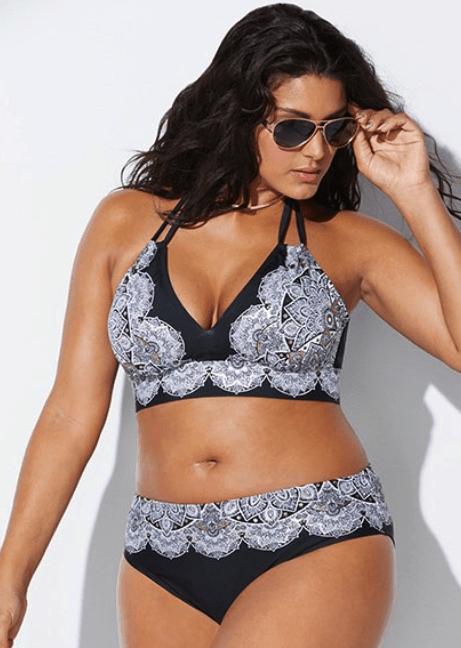 Black and white plus size bikini