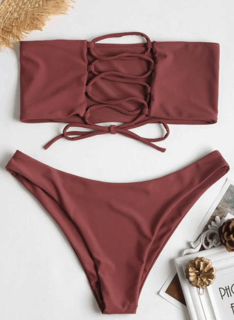 Two piece swimsuit with lace-up top