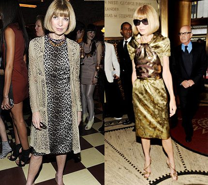 Collage of two Anna Wintour outfits.