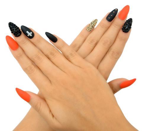 Black, orange and gold manicure