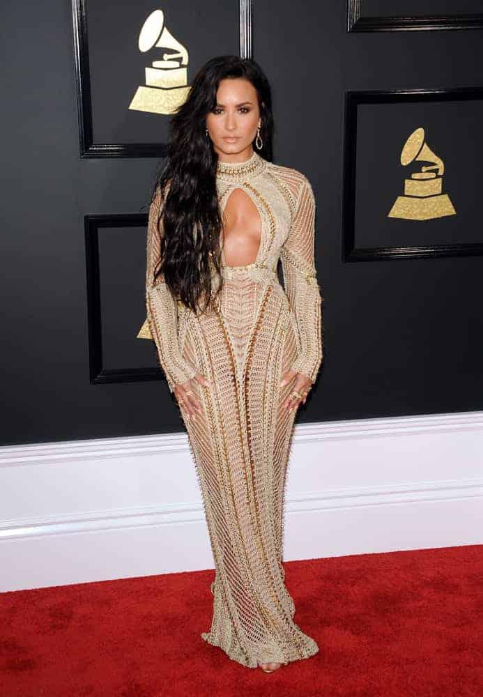grammy fashion - demi lovato in floor-length, open-knit gown