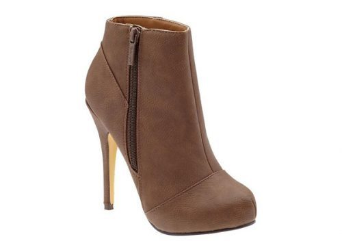 Brown bootie with tall heel