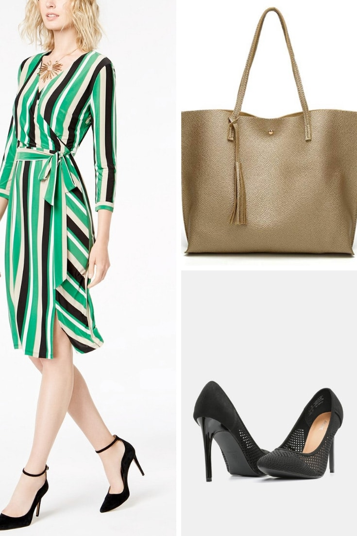 Collage of wrap dress, pumps and tote bag