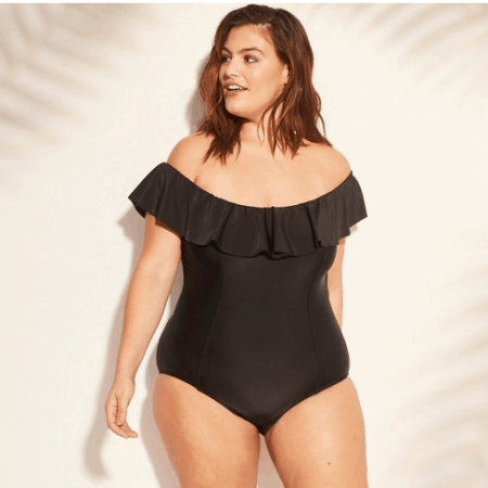 One piece swimsuit with ruffle