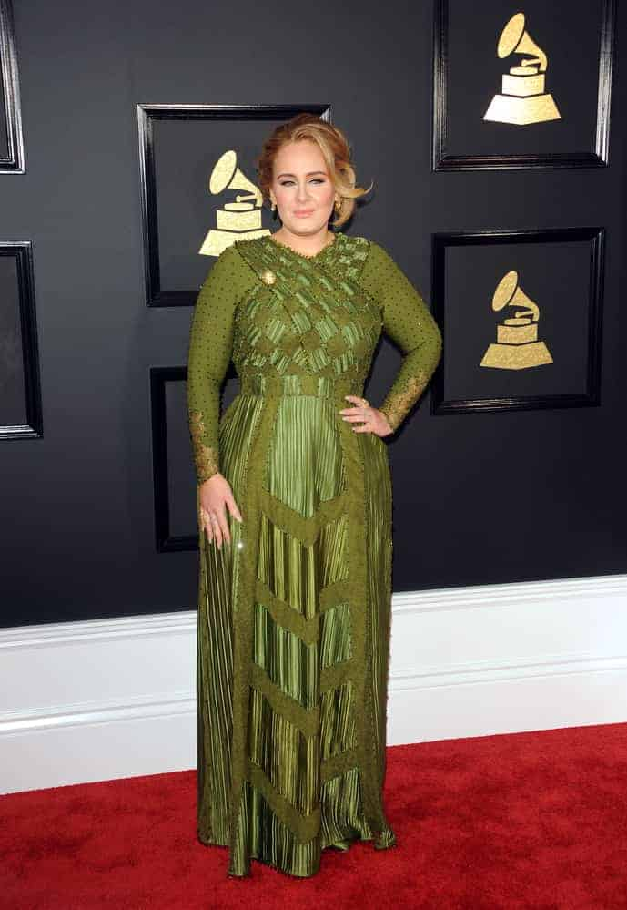 grammy fashion - adele wearing a detailed, floor-length custom green gown at the 2017 Grammys