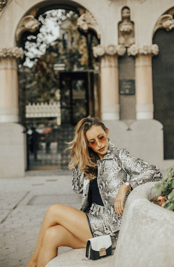Zlatina Jekova style blogger wearing animal print
