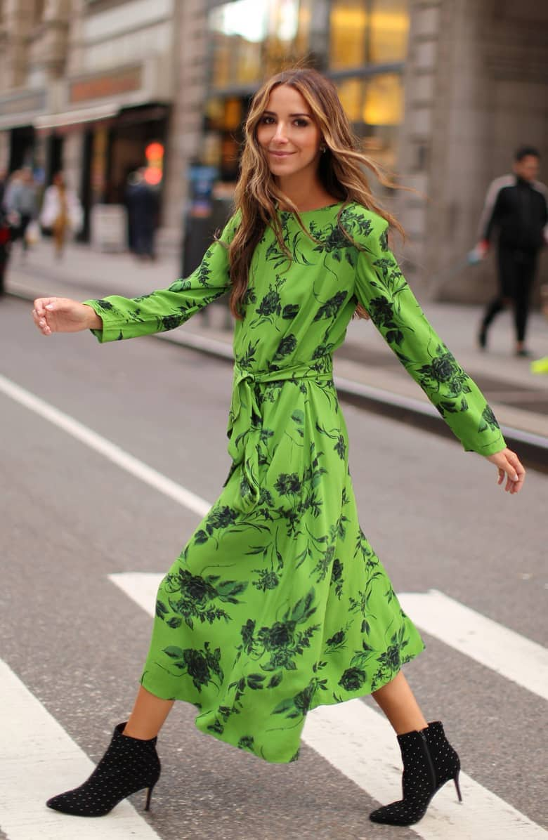 Bright green patterned, belted dress