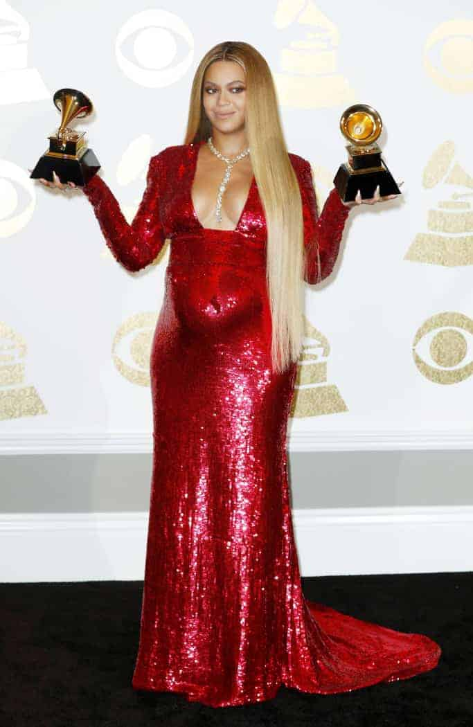 Grammy Fashion - Beyonce wearing red, glittering gown at the 2017 Grammy Awards