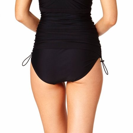 Black one piece suit with ruching