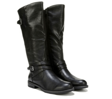 Black wide-calf boots