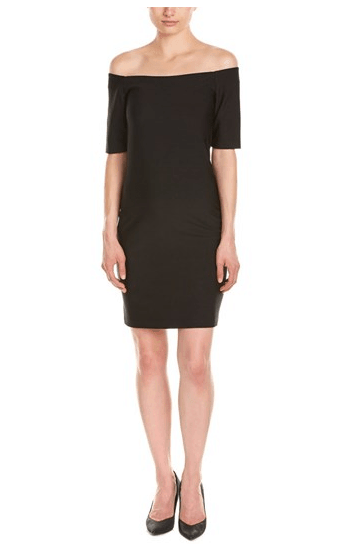 little black dress with bare shoulders