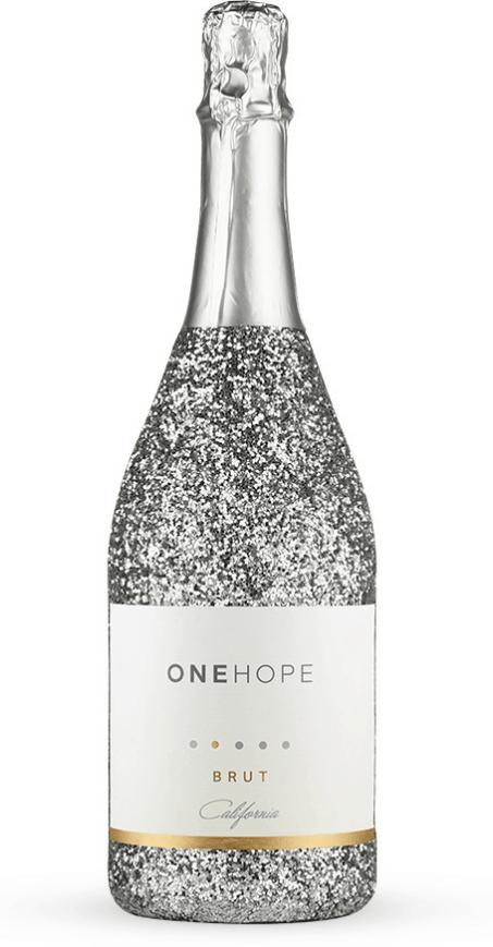 Glittery bottle of brut champagne