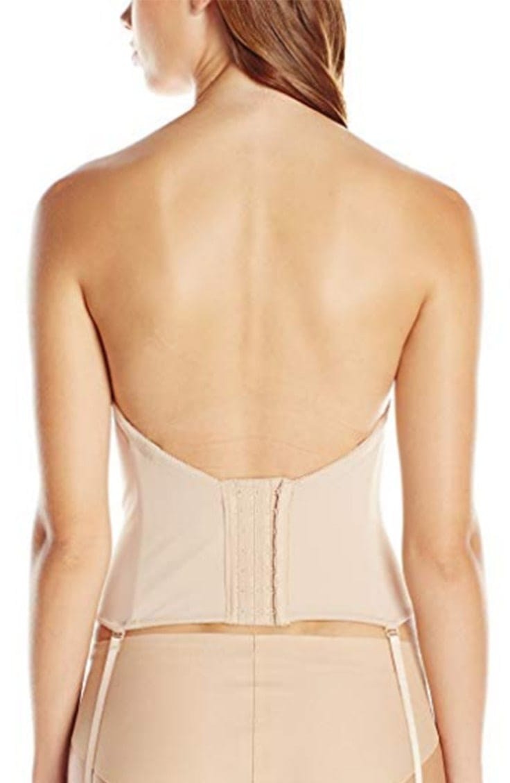 Bustier style bra with low back -- view from the back