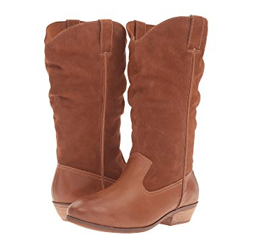 Camel-colored wide-calf boots