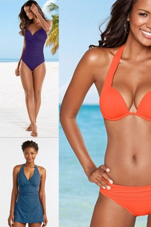 Collage of women with caramel skin wearing bathing suits