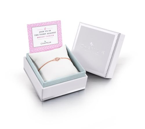 Chamilia breast cancer awareness silver ID bracelet