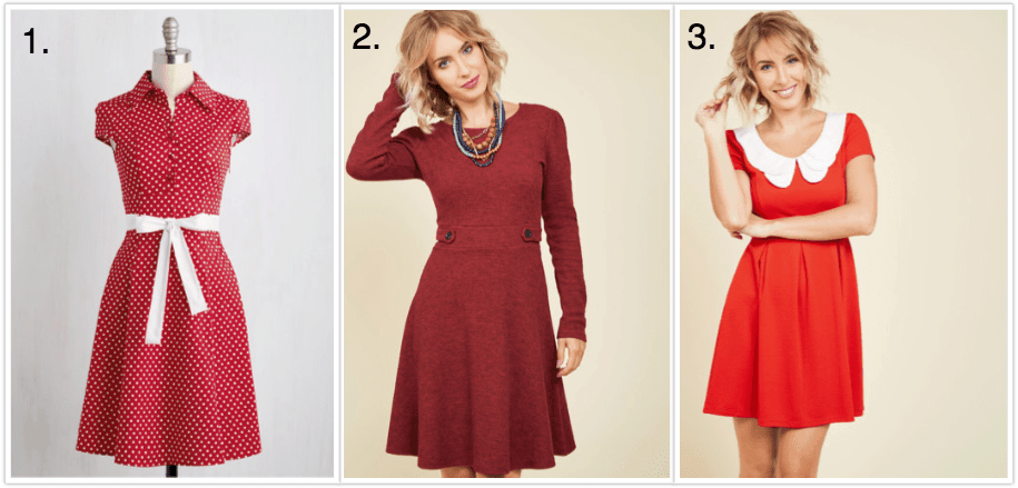 collage of three red retro style dresses
