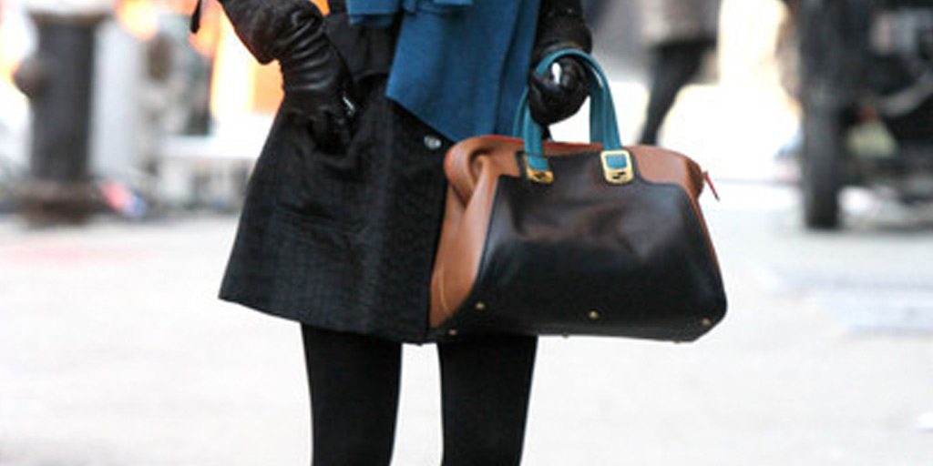 Blake Lively with color blocked bag