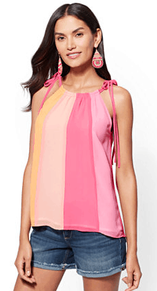 Colorblock halter blouse