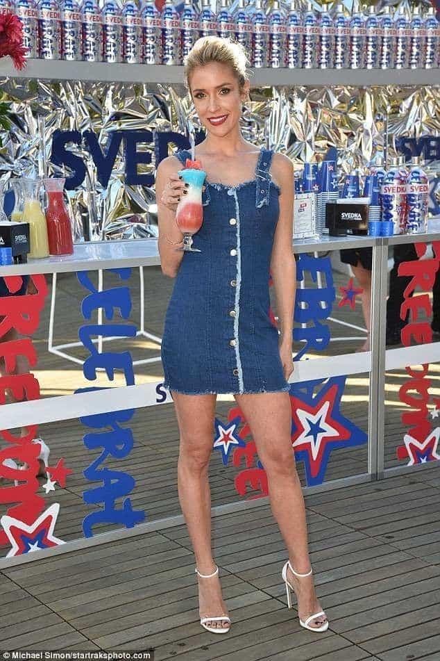 Kristin Cavallari wearing a denim mini dress