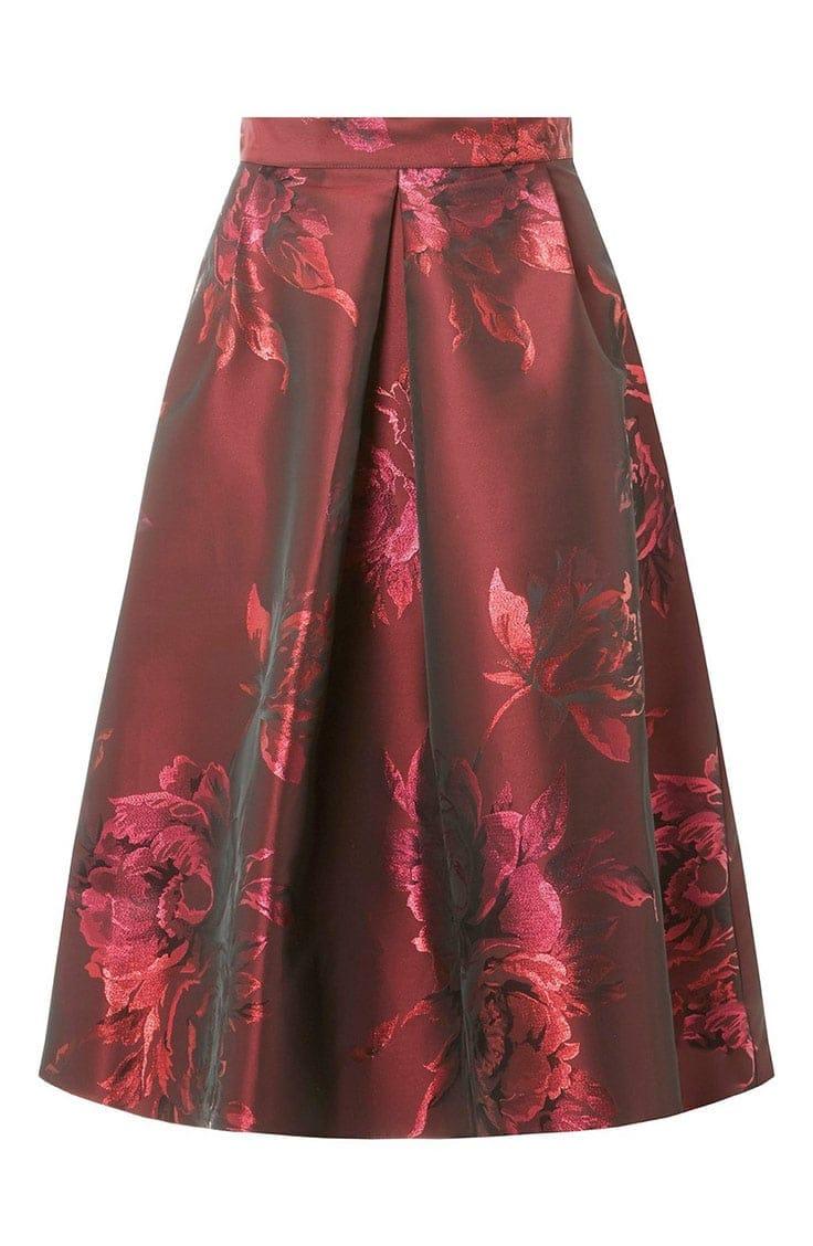 Red jacquard skirt
