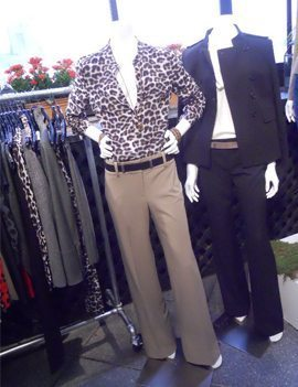two outfits on mannequins