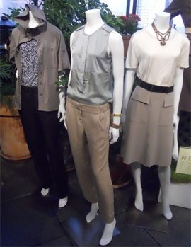 three ann taylor outfits on mannequins