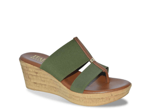Wedge sandal with elastic green strap