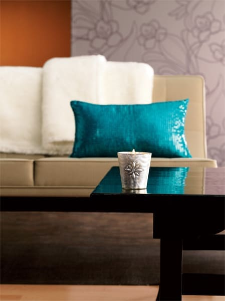 sequined pillow and vases