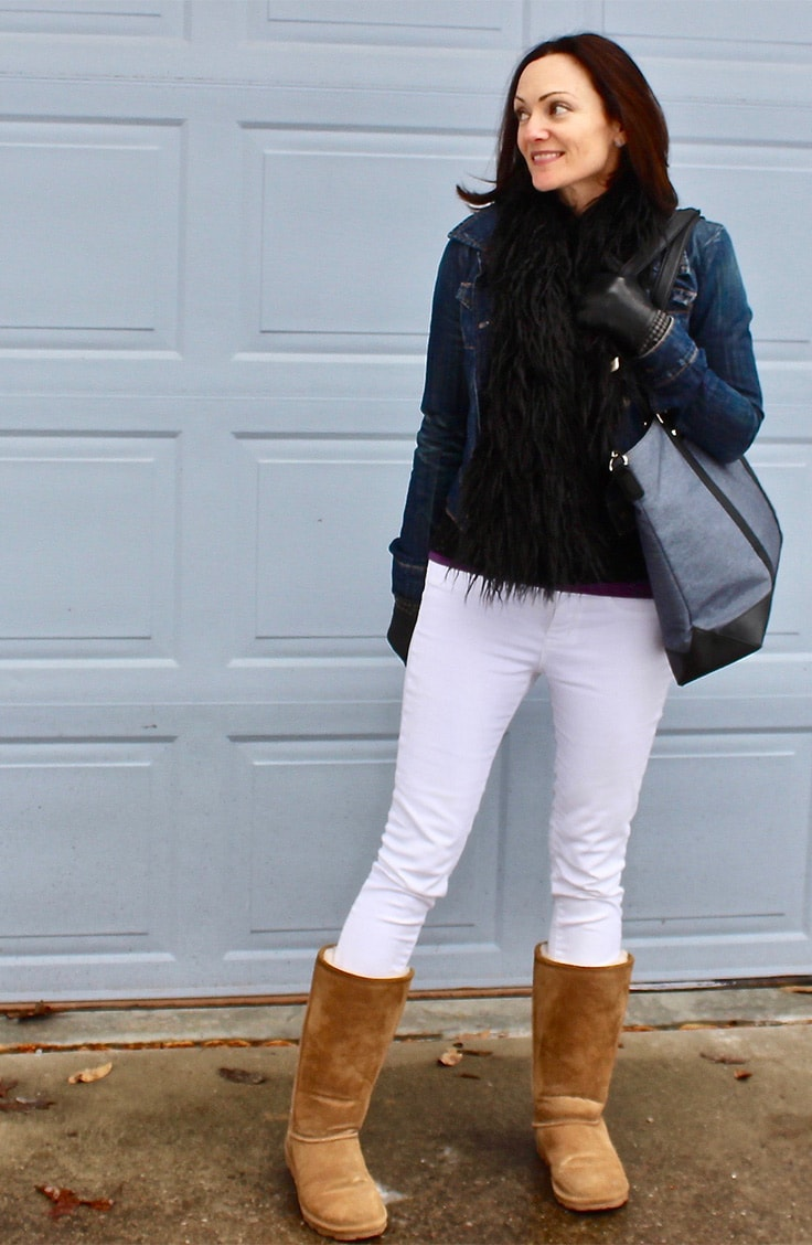 Catherine Brock wearing Bearpaw boots