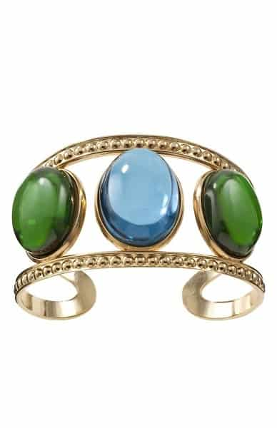 Gold cuff with blue and green stones