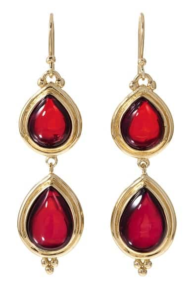 Drop earrings with tiered red stones