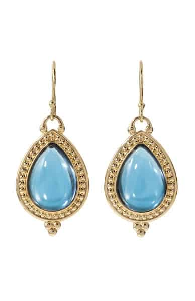 Drop earrings with blue stone