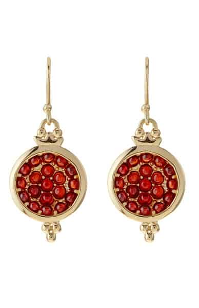 Drop earrings with small red stones