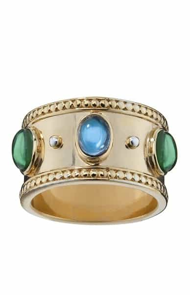 gold ring with blue and green stones