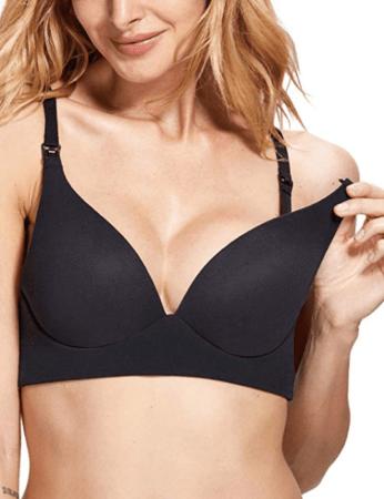 Black padded nursing bra