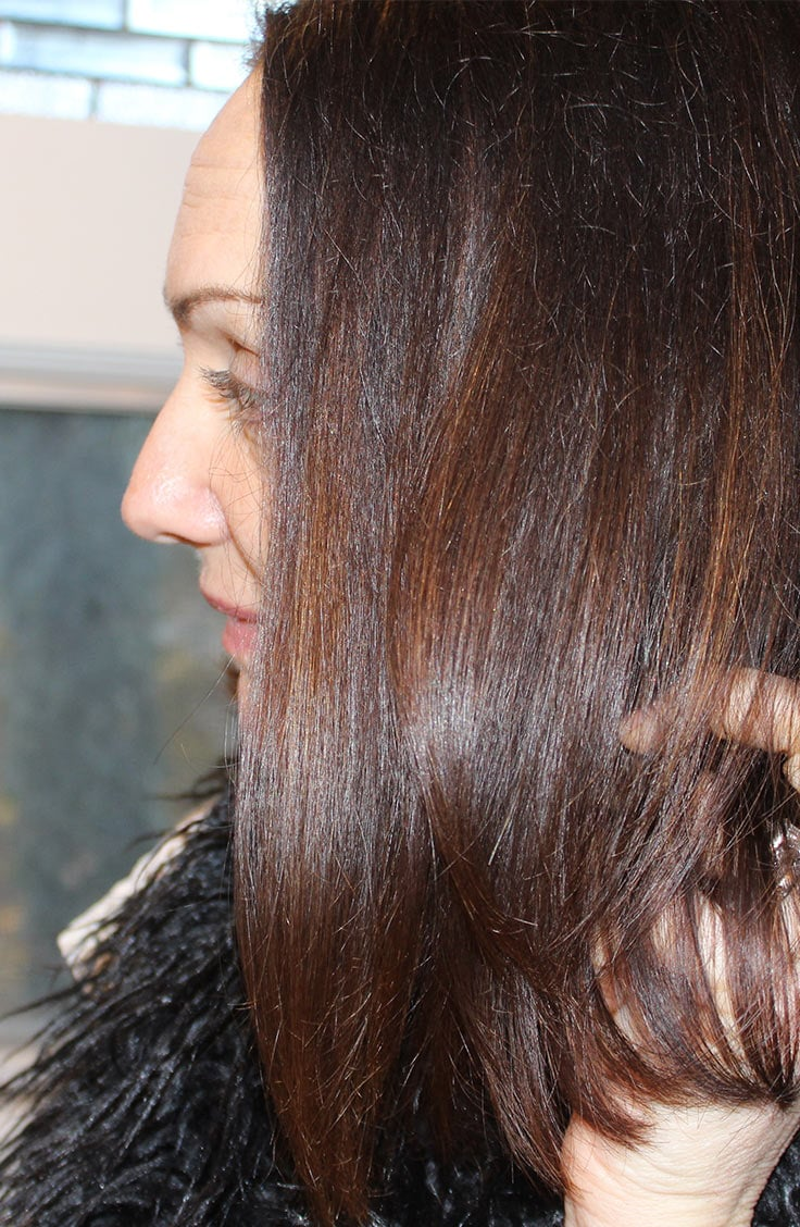 Close up of Catherine Brock's hair